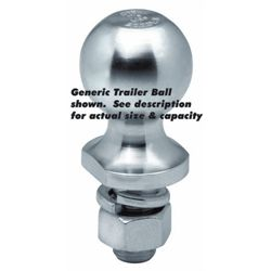 "Trailer Ball, Chromed; 1-7/8"" x SHANK DIAM: 1"" x LENGTH: 2-1/8""; CAP: 2K"